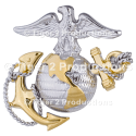 OFFICER DRESS INSIGNIA USMC CAP SHINY GOLD SILVER
